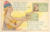 """Image of 7956-6100 - Postcard; William Jennings Bryan and William Howard Taft, """"I Have Two Bills, Columbia Cried"""""""