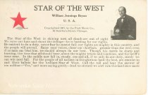 """Image of 7956-6105 - Postcard; William Jennings Bryan; """"Star of the West"""""""