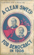 """Image of 7956-6118 - Postcard; William Jennings Bryan/Kern; """"A Clean Sweep for Democracy in 1908"""""""