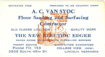 Image of 7956-6201 - Card, Business, A.C. Van Syoc; Floor Sanding and Surfacing