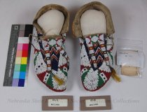 Image of 81-(1-2) - Moccasins, Sioux, Full Bead; Red, White, Blue, Green, Double Tongues W/Tassels