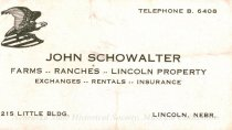 Image of 8201-490 - Business Card, Farms-Ranches-Lincoln Property-exchanges-rentals-insurance you just need to call John Schweitzer