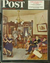 Image of 8592-27 - Clipping, Magazine; Cover; John Falter; Offset Lithograph; Thanksgiving Flute Performance; Saturday Evening Post; November 30, 1946