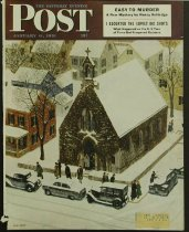Image of 8592-32 - Clipping, Magazine; Cover; John Falter; Offset Lithograph; Snowy Morning at Church; Saturday Evening Post; January 6, 1951
