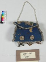Image of 8634-129 - Purse, Small; Blue, Beaded, Floral