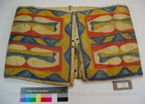 Image of 8781-42 - Bag; Parfleche; Rawhide; Red: Blue; Yellow; Curved Lines