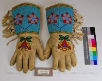 Image of 8917-5-(1-2) - Gloves, Beaded; Pair Floral, Geometric