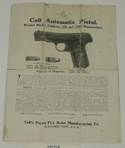 Image of 9062-8-(4) - Brochure, Colt Automatic Pistol, Pocket Model, Calibers .32 and .380 Hammerless