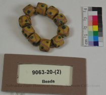 Image of 9063-20-(2) - Beads, Clay; Yellow and Green; Wire Strung