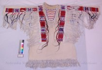 Image of 9207-4 - Shirt, Cloth; Leather Fringe; Hair; Beadwork; Geometric