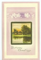 "Image of 9424-125 - Postcard; Birthday, ""Birthday Greetings"""