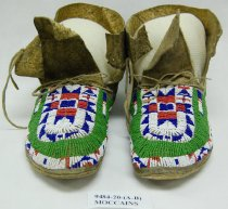 Image of 9484-20 - Moccasins; Adult; Leather; Glass Beads; Star; N. Cheyenne