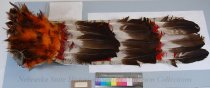 Image of 9484-4 - Headdress; Eagle Feather; Horned; Felt Cap; Red Wool