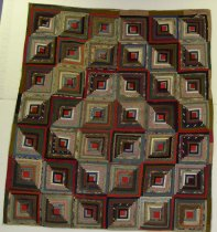 Image of 9485-1 - Quilt, Log Cabin; Barn Raising