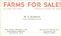 Image of 9654-81 - Business card; W.G. Barbour, filed representative, Farms for sale
