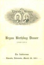 Image of 9692-20 - Program; William Jennings Bryan; Bryan Dinner Program