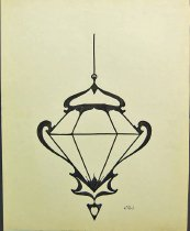 Image of 9857-191 - Drawing, Hanging Lamp Design, Ink; T.B. Johnson