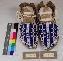 Image of SS-155-(1-2) - Moccasins; Leather; Beaded; Buffalo Track
