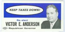 Image of 10988-2 - Political Card, Re-elect Victor E. Anderson