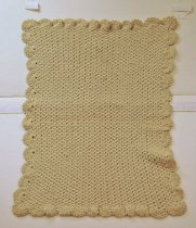 Image of 8622-153 - Blanket, Baby; Off-white, Crocheted, Wool