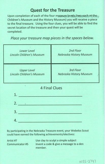 11055-2747 - Brochure, Cub Scout Nebraska Treasure Event