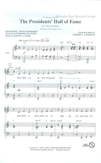 11580-55 - Music, Sheet, the Presidents Hall of Fame