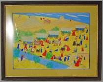 Image of 10498-1 - Painting, Campsite at Court House Rock and Jail House Rock; Tempra; Grandma Fran