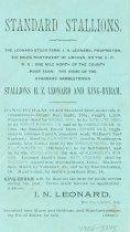Image of 7956-3845 - Card, Business; Standard Stallions, Leonard Stock Farm