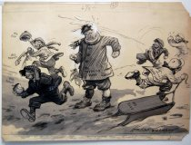 """Image of 12523-116 - Cartoon; Herbert Johnson; """"When Will He Begin to Defend Himself"""""""
