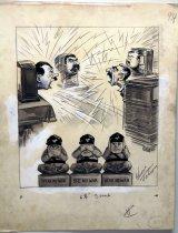 "Image of 533P-122 - Cartoon; Herbert Johnson; ""Speak No War, See No War, Hear No War"""