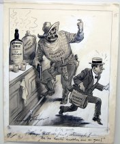 "Image of 12523-130 - Cartoon; Herbert Johnson; ""Not So Fast Stranger, Were Having Another One on You"""