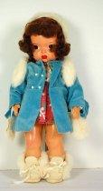 Image of 13244-12-(1-10) - Doll, Terri Lee, Brunette, Blue Velvet Coat with Shorthand Pattern Town Dress