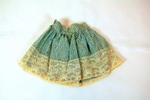 Image of 13239-18-(1-2) - Clothing, Doll, Skirt, Blue Cotton w/ Fruit Motif and Lace Trim