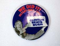 """Image of 13242-29 - Button, Political, """"Clinton Beats Bush"""""""