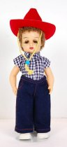 Image of 13244-256-(1-8) - Doll, Tiny Jerri, Blue and White Checked Shirt, Jeans, Cowboy Hat