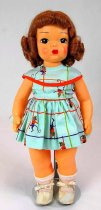 Image of 13244-154-(1-8) - Doll, Terri Lee, Brown Hair, Monkey Print Dress