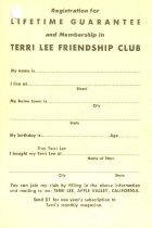 Image of 13244-384 - Card, Membership, Terri Lee Friendship Club and Lifetime Guarantee Registration