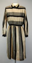 Image of 13084-118 - Dress, Black and Tan with Elastic Waist and Shoulder Pads