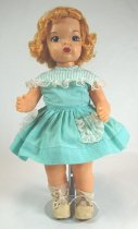 Image of 13244-157-(1-9) - Doll, Terri Lee, Honey Blonde, Seafoam School Dress with Eyelet Lace Trim