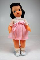 Image of 13244-124-(1-7) - Doll, Terri Lee, Brown Hair, Pink and White Organdy Dress