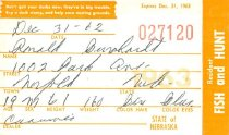 Image of 13273-3 - Permit, Fish and Hunt, Nebraska Resident, 1962