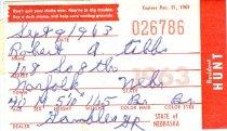 Image of 13273-4 - Permit, Hunt, Nebraska Resident, 1963