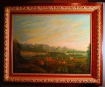 Image of 300P - Painting, Landscape; Bellevue Nebr,1854, Oil, Ad Albrect 1894, from Schimonsdky Sketch