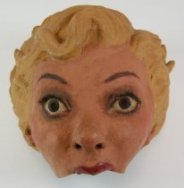 Image of 13289-35 - Portrait Mask, Blonde Female Character Half-mask; Made by Doane Powell