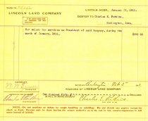 Image of 9736-21 - Billing Voucher, Lincoln Land Company, Debtor to Charles E. Perkins for $250.00 on January 31, 1911