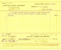 Image of 9736-24 - Billing Voucher, Lincoln Land Company, Debtor to A.H. Shafer for $4.95 on January 28, 1911