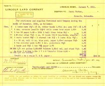 Image of 9736-31 - Billing Voucher, Lincoln Land Company, Debtor to Harry Porter for $28.15 on January 7, 1911