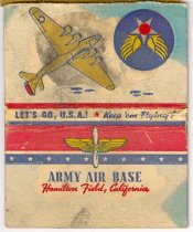 Image of 9691-21 - Matchbook Cover, Hamilton Field, CA; WWII, Army Air Base