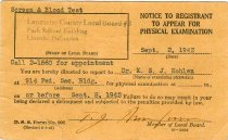 Image of 11244-2 - Postcard, Notice of Physical Exam, Draftee; Lancaster County Local Board #3, WWII
