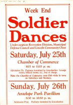 Image of 4541-442 - Poster, Weekend Soldier Dances; Chamber of Commerce and Antelope Park Pavillion, July 25-26